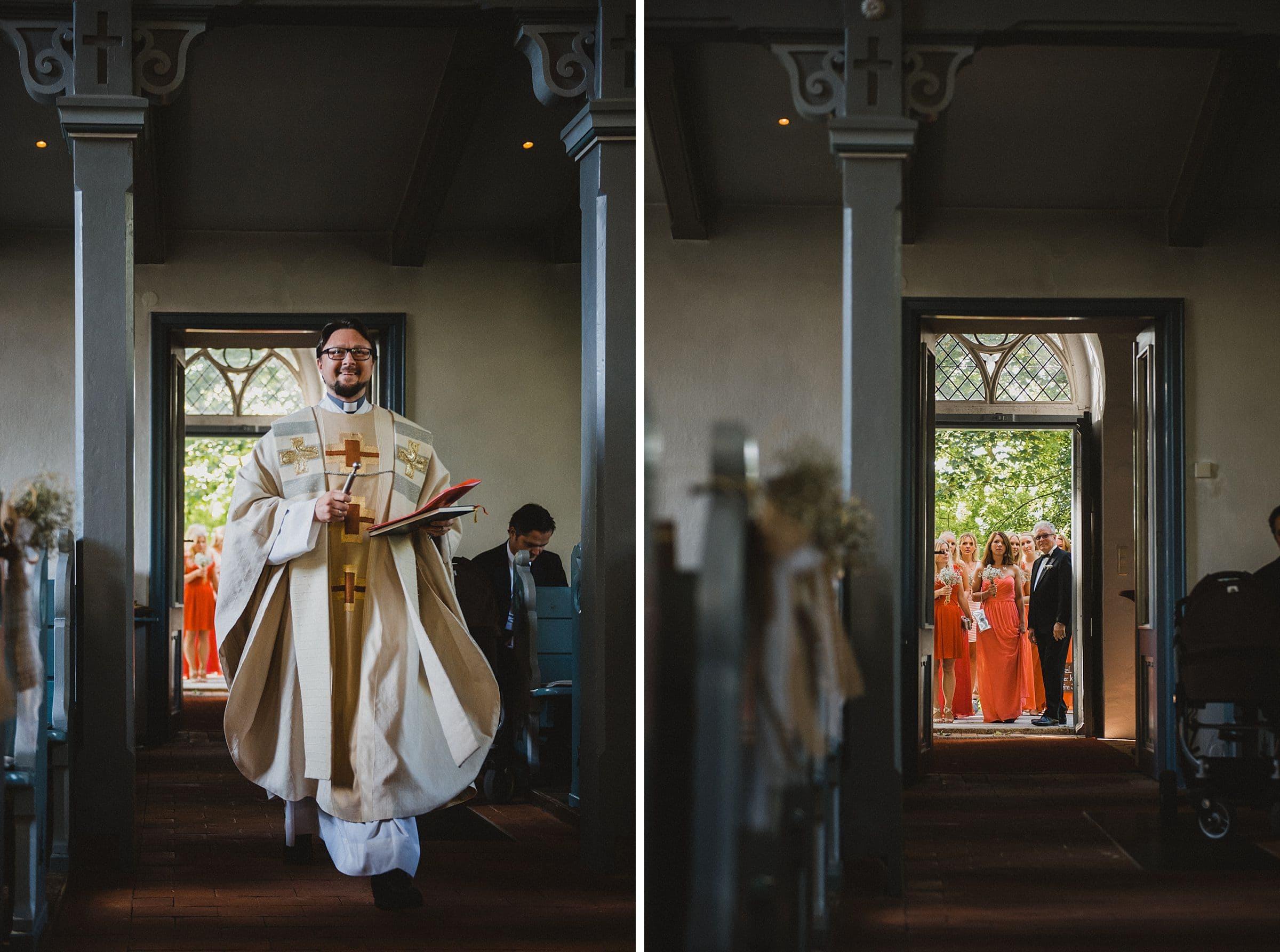 Hochzeitsfotografie Hamburg-Frau-Siemers-Gut Basthorst- kirchliche Trauung-Pastor kommt zu spät