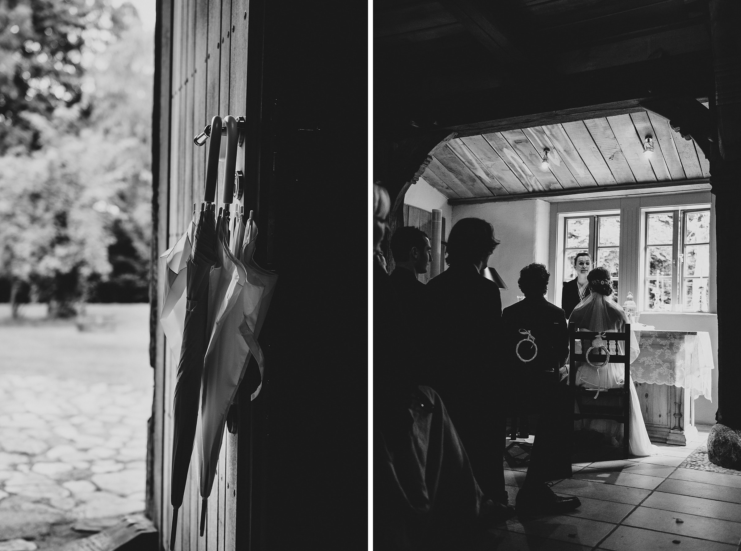 Hochzeitsfotografie-Frau-Siemers-Hof Weihe-freie Trauung-Regenschirme im Gegenlicht