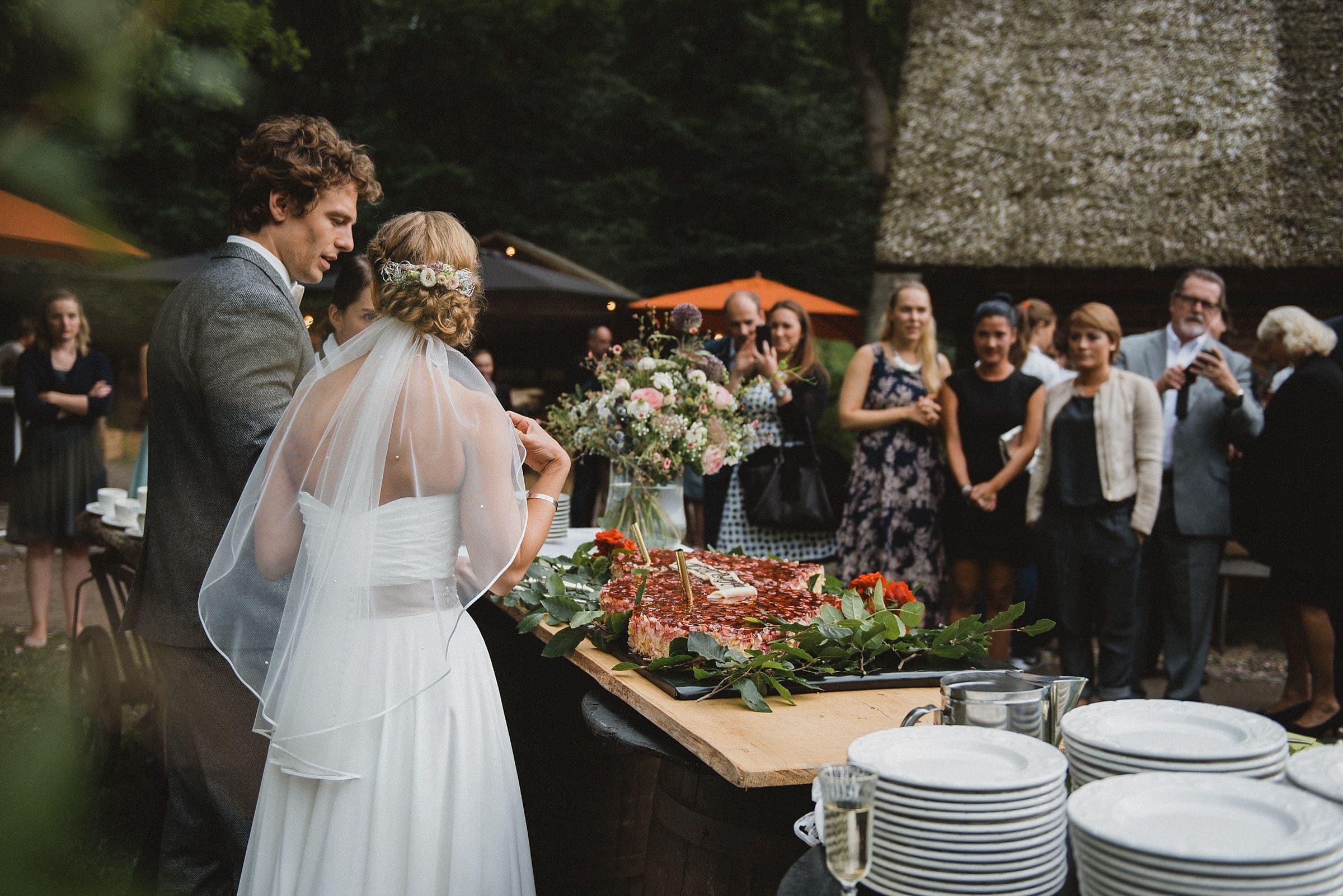 Hochzeitsfotografie-Frau-Siemers-Hof Weihe-Tortenanschnitt durch das Brautpaar