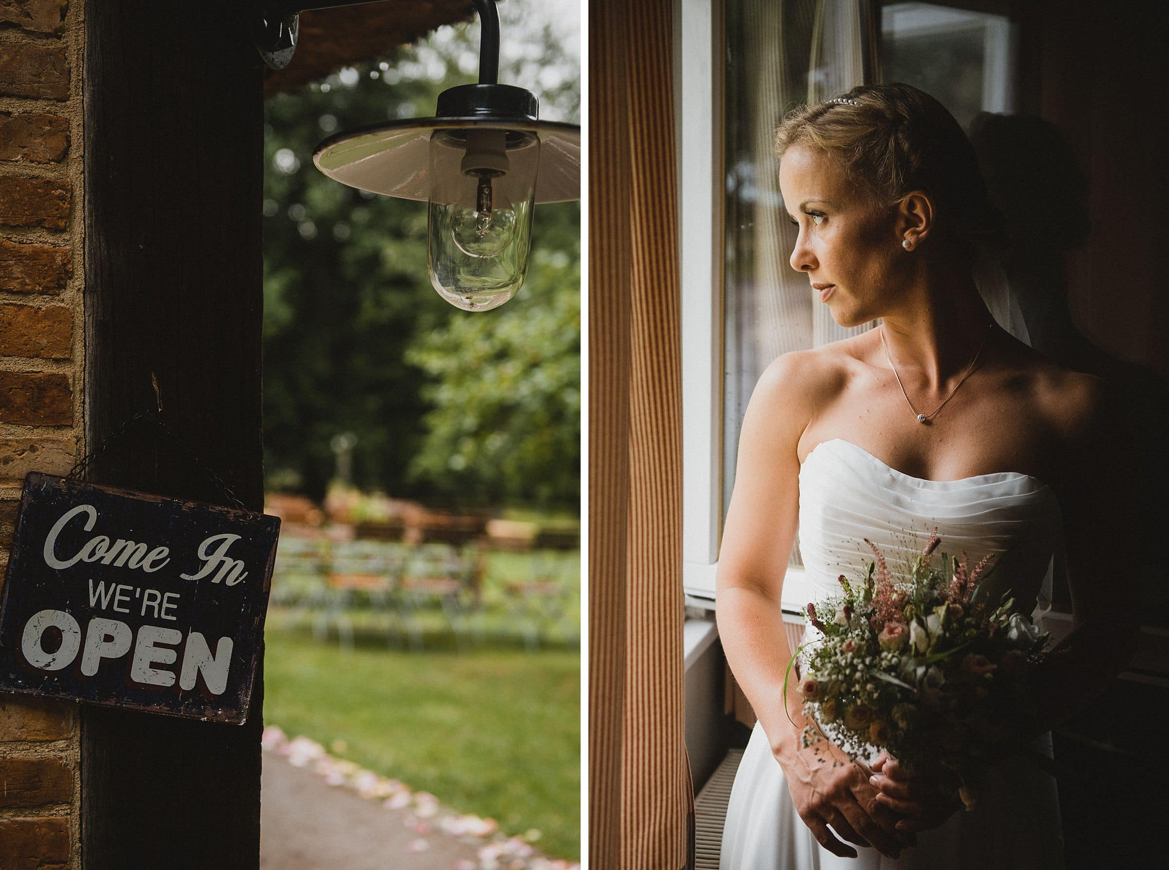 Hochzeitsfotografie-Frau-Siemers-Hof Weihe-Braut steht erwartungsvoll am Fenster. In die Zukunft blickend
