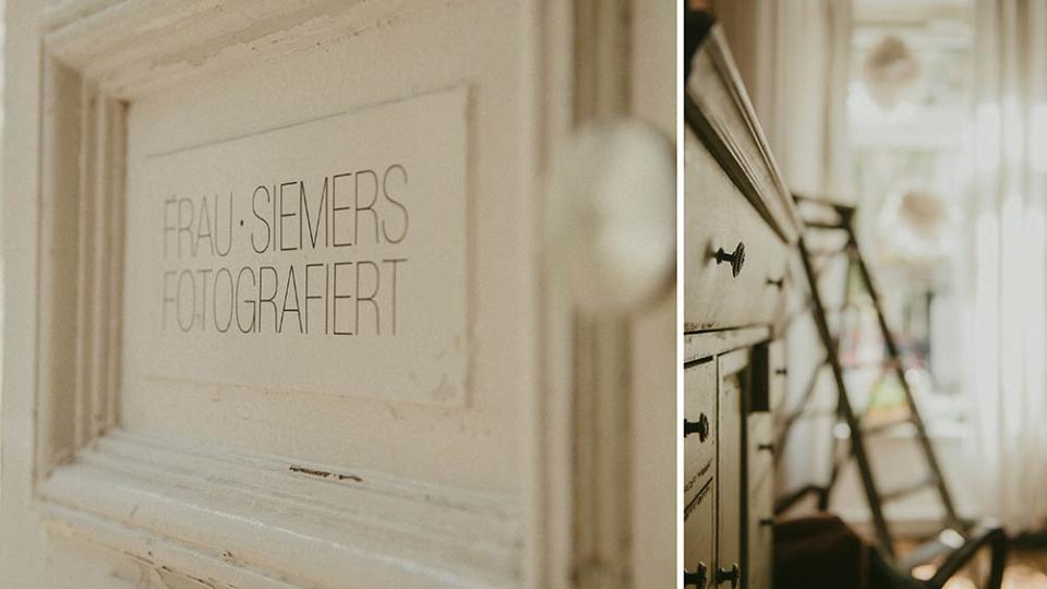 Frau Siemers/ Hochzeitsfotograf Hamburg/Neues Stelier auf St. Pauli/ Interieur Eingang