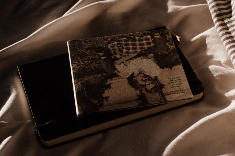 Eine CD und eine Tagebuch liegen übereinander auf einer Decke. Das komplette Bild ist in sehr warmen Tönen gehalten. Vermutlich wurde es an einem Abend aufgenommen. Auf der CD ist ein Paar zu sehen.
