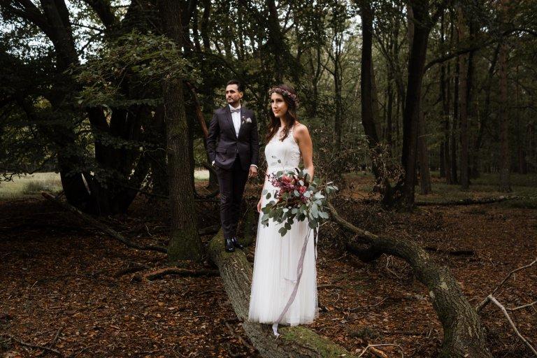 After-Wedding-Session-Hamburg-Brautpaar steht auf einem Baum und schaut in die Ferne