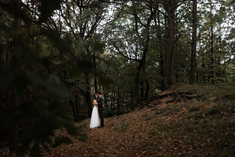 After Wedding Session- Hamburg-Landschafts-Aufnahme mit Brautpaar. Brautpaar steht inmitten des Waldes.