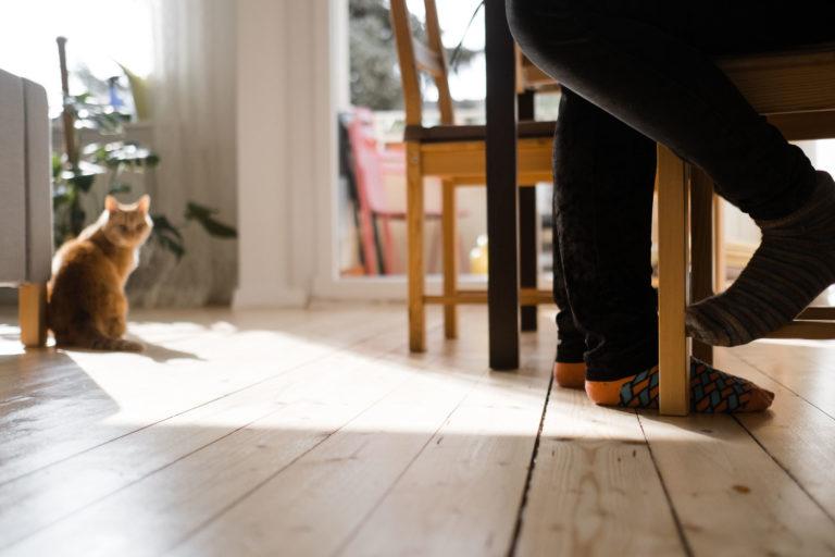 Der Fokus liegt auf unser Brautpaar zu sehen sind nur ihre Füße.